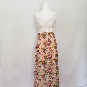 Trixxi Maxi Dress Pink Floral Skirt/Open Back Top